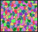 A set of tiled interlocking polygons in various colors.