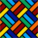 Bright primary color tiles on a diagonal