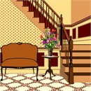 A classic couch, a side table with a flower arrangement, and a carpeted staircase.
