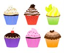 Six colorful cupcakes