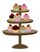 Ooh la la!  A cupcake display on a stand.  This delectable needlepoint makes you hungry to stitch.