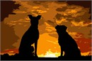 Dogs Sunset Silhouette