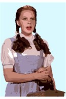 Dorothy from the Land of Oz, clutching her basket and gazing in wonder.