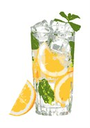 This ice cube glass of lemon or orange infused water is delectable straight off the canvas. Stitch on a warm summer day while sipping an ice cold drink.