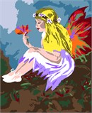 A fairy girl with colorful butterfly wings sits leisurely and examines a pretty flower.