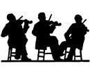 Fiddler performing in silhouette