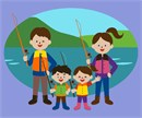 Family of four going fishing together
