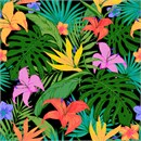 Tropical plants and flowers in vibrant colors