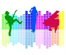 Colorful Silhouette of a singer, guitar player, and a baby grand piano