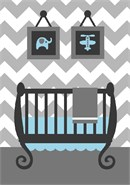 An updated baby boys room in grey and white chevron