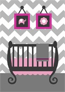 An updated baby girls room in grey and white chevron