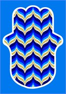 Hamsa in bargello pattern in colors of royalty
