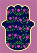 Roses blooming on this hamsa pattern