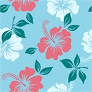 Floral hibiscus pattern in coral and aqua. Perfect to finish as a needlepoint pillow.
