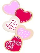 Stitch a stack of heart shaped cookies decorated with icing.  An adorable needlepoint canvas for someone you love.