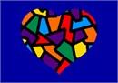 A stained glass heart in primary colors