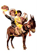 A young boy and girl ride a docile pony at the head of the parade.