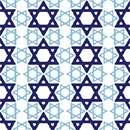 Repeating pattern of Jewish stars at different angles.