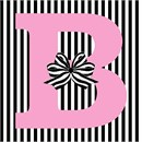 Letter B Striped Bow