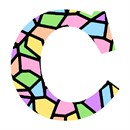 Letter C Stained Glass Pastel