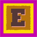 The letter E, framed by nested squares in bright colors and roughened edges.