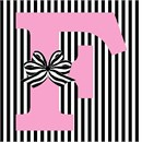 Letter F Striped Bow