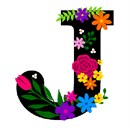 The capital letter J sprouting bold and bright colorful flowers.