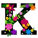 The capital letter K sprouting bold and bright colorful flowers.