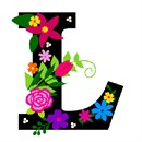 The capital letter L sprouting bold and bright colorful flowers.