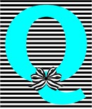 Letter Q Striped Bow
