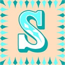 The letter S in a fancy font, surrounded by a matching border of elongated diamonds.