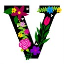 The capital letter V sprouting bold and bright colorful flowers.