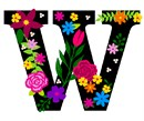 Letter W Primary Floral
