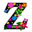 The capital letter Z sprouting bold and bright colorful flowers.