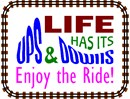 "Life has its ups and downs. Enjoy the Ride! In alternating colors, the words ""Ups and Downs"" are shaped like a roller coaster. A train-track frame completes the design."