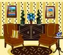 A living room scene, featuring comfortable armchairs, a varnished armoire, and a pair of topiaries.