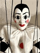 Puppet mime in needlepoint