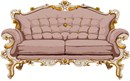 A dusty rose couch fit for a palace.