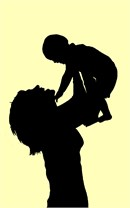 A mother's love of her baby in silhouette