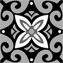 Bright swirls of black and grey with a floral center