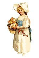 Olivia dressed in white satin and blue sash holds a fine arrangement of flowers in her hands.