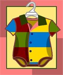 Adorable baby's onesie outfit, patchwork of bold primary colors.