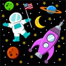 An outer space needlepoint.  Planets are orbiting, a spaceship is flying, and an astronaut is proudly holding an American flag.  The moon and stars design the background of this space galaxy.