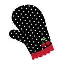 An oven mitt, polka-dotted black with a cherry icon near the bottom.