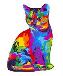 A vibrant cat that looks fingerpainted