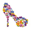 Assorted pansies decorate this high heel shoe