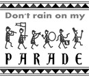 Stick figures in a marching band parade.