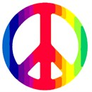 Peace symbol in a rainbow of colors.