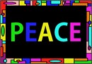 Peace in colorful artistic geometric.  Everyone needs a peace sign or symbol hanging on the walls of their houses. We need a daily reminder of how important it is to live peacefully and in harmony with one another.