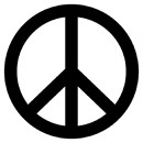Peace symbol in black and white.  In today's day and age, when we have so many conveniences, we must not take peace for granted.